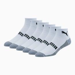 Men's Quarter Crew Socks [6 Pack], WHITE / BLACK, small